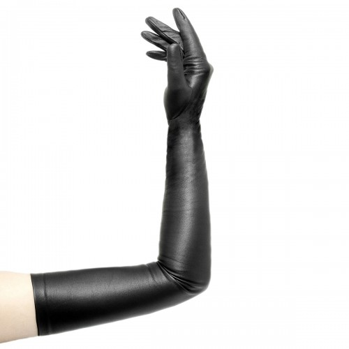 Opera leather gloves with zipper upper arm length standard size (Model 209)