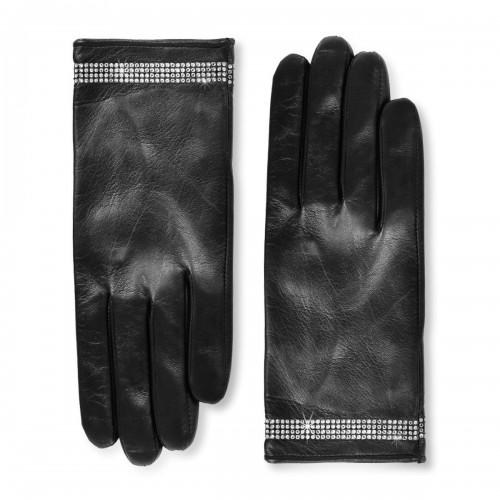 Short leather gloves with Swarovski® crystals standard size (Model 211)