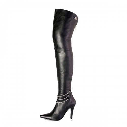 High heel boots thigh high with chains made-to-measure (Model 311)
