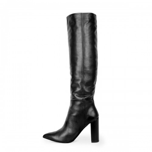 Knee high boots with wide shaft and block heels standard size (model 340)