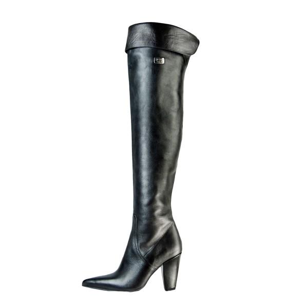 Classic over-the-knee boots flip top block heel standard size (Model 322)