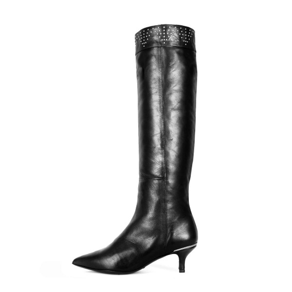 Kneehigh boots with wide shaft and kitten heels made to measure (model 380)
