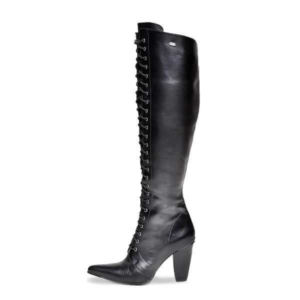High heel boots knee high high lacing made-to-measure (Model 412)