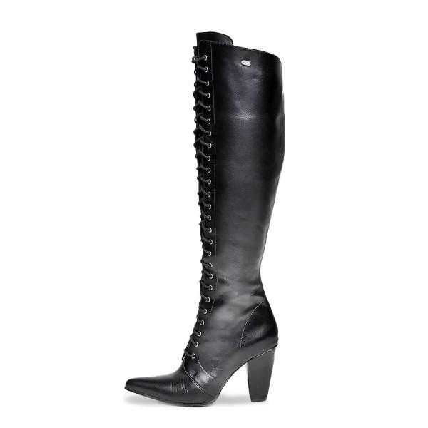 High heel boots knee high high lacing standard size (Model 412)