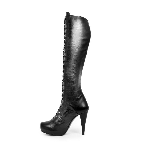 Kneehigh boots high heel platform hook lacing made to measure (model 706)