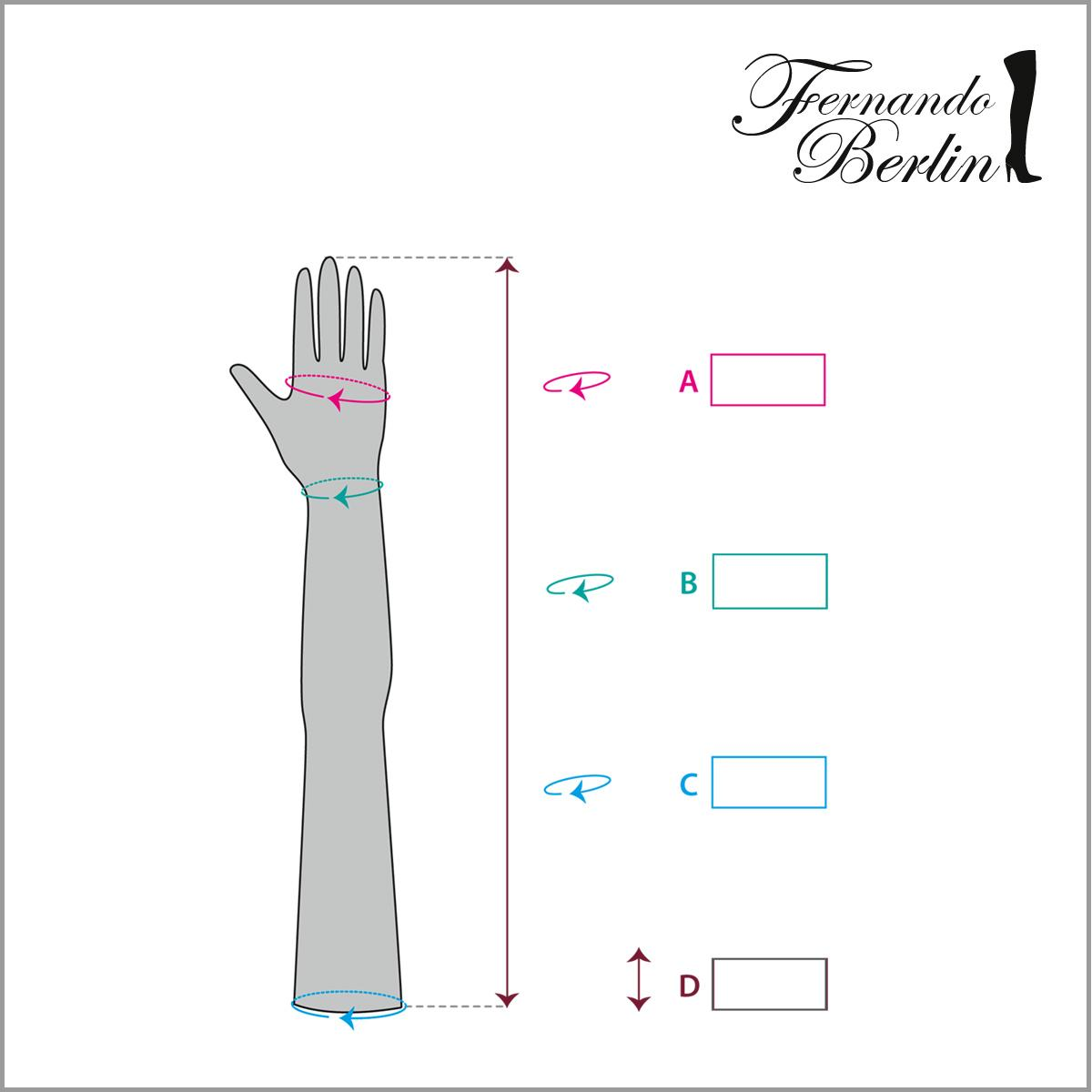 Measurements gloves