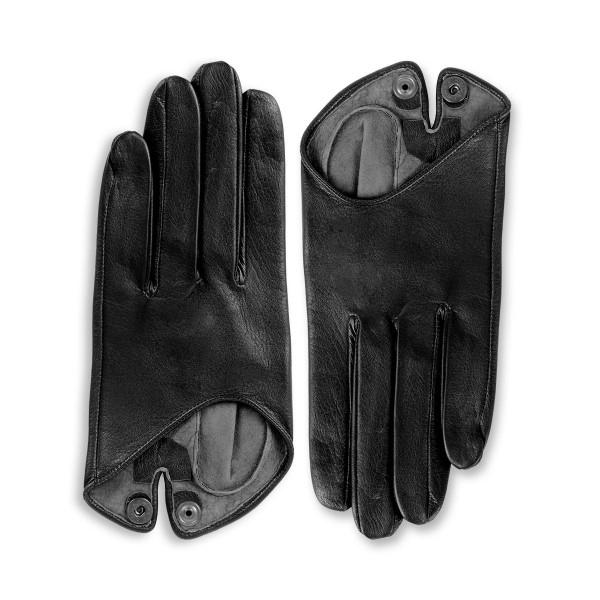 Gants demi en cuir avec bouton pointure standarde (Modèle 208)