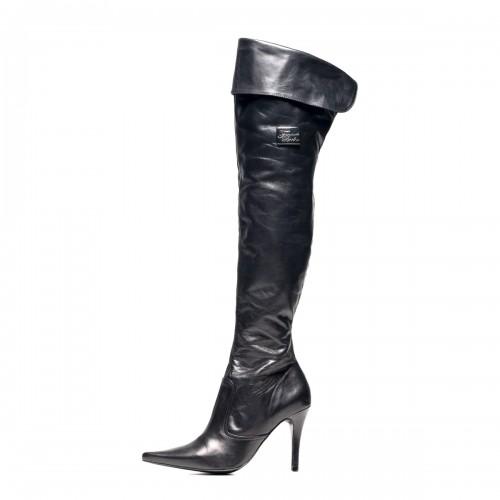Klassischer Overknee Stiefel Umschlag High Heels Standardgröße (Modell 111)