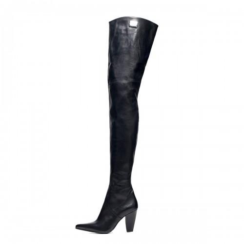 Overknee Stiefel schenkelhoch Blockabsatz Standardgröße (Modell 112)