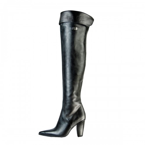Klassischer Overknee Stiefel Umschlag Blockabsatz auf Maß (Modell 322)