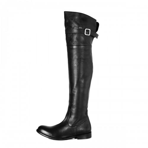 Klassischer Overknee Stiefel mit Schnalle flach Standardgröße (Modell 350)