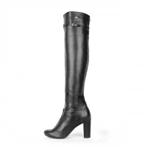 Overknee Stiefel im Mary Jane-Stil mit Riemchen und Blockabsatz Standardgröße (Modell 418)