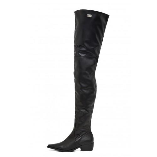 Flache Overknee Stiefel schenkelhoch Standardgröße (Modell 115)