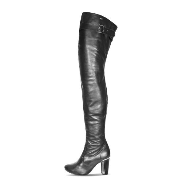 Overknee Stiefel schenkelhoch Blockabsatz Schnalle auf Maß (Modell 118)
