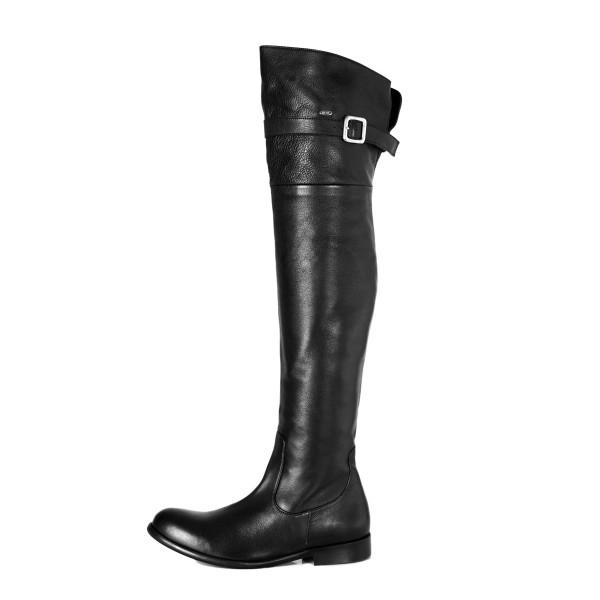 Klassischer Overknee Stiefel mit Schnalle flach auf Maß (Modell 350)