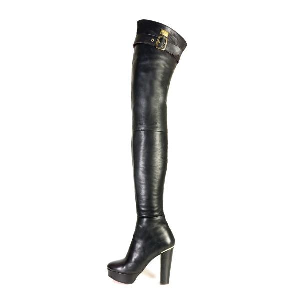 Overknee Stiefel schenkelhoch Blockabsatz Plateau Schnalle auf Maß (Modell 517)