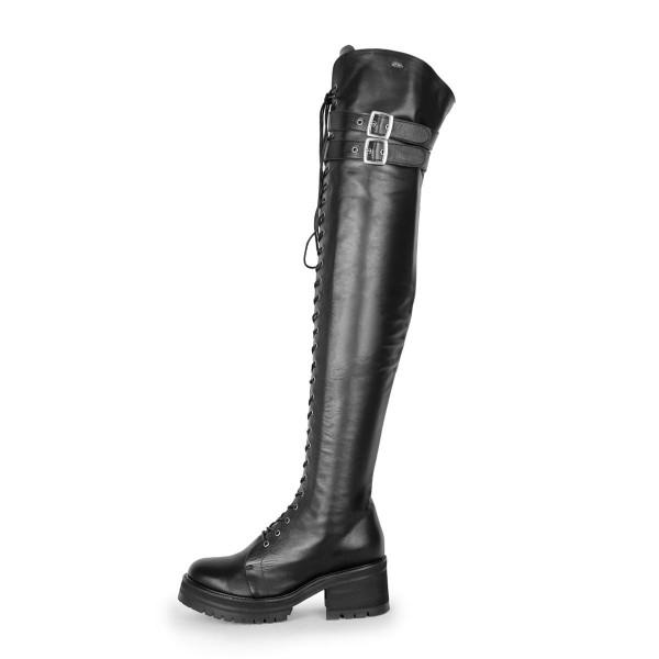 Stiefel im Combat/Gothic-Style schenkelhoch Thigh Highs Standardgröße (Modell 670)