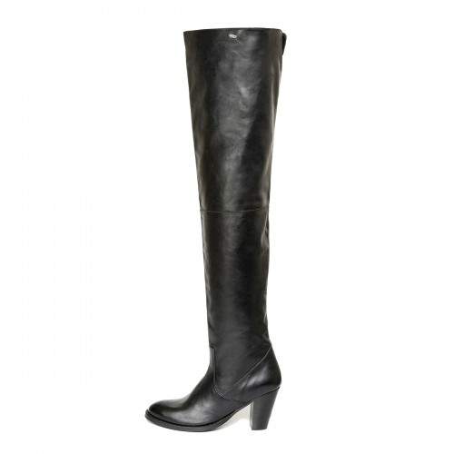 Pull-on thigh high boot 70s style heel made-to-measure (Model 335)