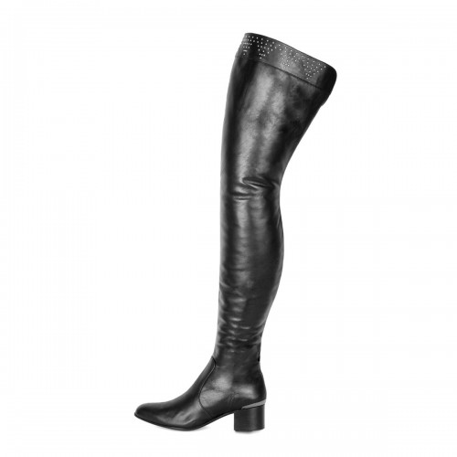 Boots with rivets and block heel thigh high standard size (Model 590)