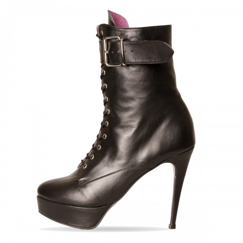 Lace-up booties high heel with platform and straps standard size (Model 817)