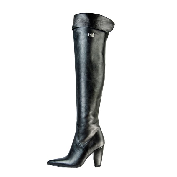 Classic over-the-knee boots flip top block heel made-to-measure (Model 322)