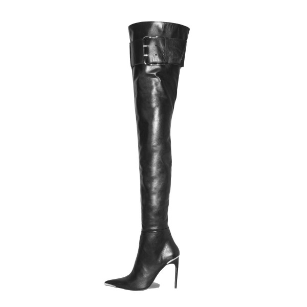 High heel boots crotch high with metal toecap and strap made-to-measure (Model 660)